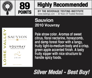 Sauvion 2010 vouvray 2011 WVWC Shelf Talker