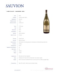 Sauvion Tech Sheet 2009 Sancerre