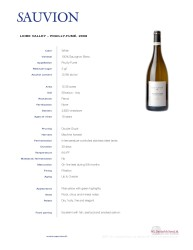 Sauvion Tech Sheet Loire Valley 2008 Pouilly Fume