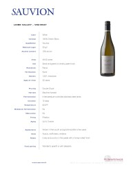Sauvion Tech Sheet Loire Valley Vouvray