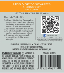 Hob Nob Chardonnay Back Label