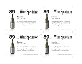 Sauvion 2011 Vouvray 89 points Wine Spectator