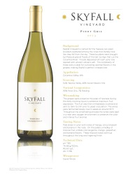 Skyfall 2013 Pinot Gris Tech Sheet