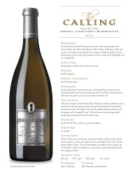 The Calling Jewell Vineyard  2012 Chardonnay  Tech Sheet