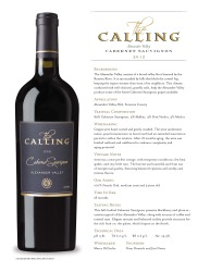 The Calling 2012 Cabernet Sauvignon  Gold Label  Tech Sheet