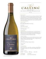 The Calling 2013 Chardonnay  Gold Label Tech Sheet