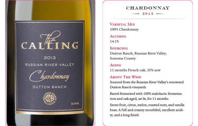 The Calling  2013 Chardonnay  Tasting Card