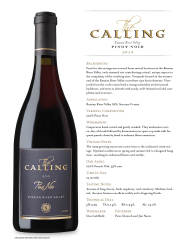 The Calling  Russian River Valley  2013 Pinot Noir  Technical Sheet