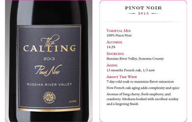 The Calling  2013 Pinot Noir  Tasting Card