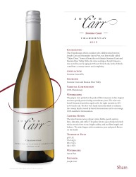 Josph Carr  Sonoma Coast  2013 Chardonnay  Technical Sheet