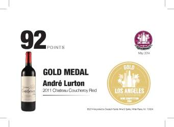 André Lurton   2011 Chateau Coucheroy Red   92 Points   Los Angeles International Wine Competition   Shelf Talker