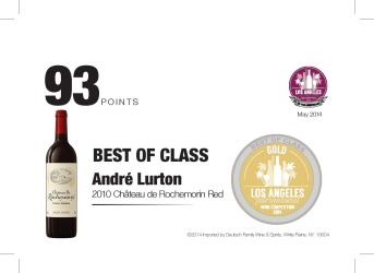 André Lurton   2010 Chateau de Rochemorin Red   93 Points   Los Angeles International Wine Competition   Shelf Talker