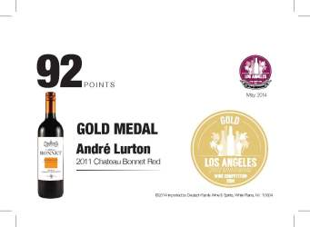 André Lurton 2011 ChateauBonnet Red 92 Points Los Angeles International Wine Competition Shelf Talker