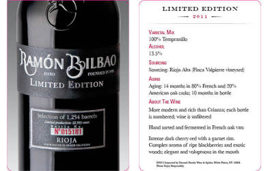 Ramon Bilbao  2011 Limited Edition  Tasting Card