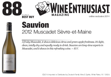 Sauvion   2012 Muscadet Sevre-et-Maine   88 Points   Wine Enthusist   Shelf Talker