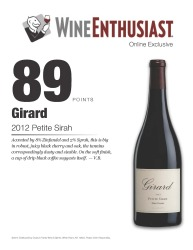 Girard   2012 Petite Sirah   89 points   Wine Enthusiast April 1  2015   Review