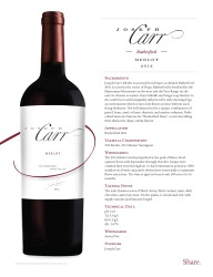 Joseph Carr   Rutherford   2012 Merlot   Technical Sheet