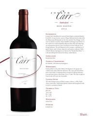 Joseph Carr   Rutherford   2012 Red Blend   Technical Sheet