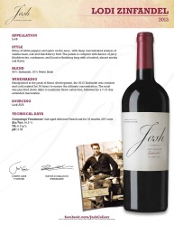 Josh Cellars   2013 Lodi Zinfandel   Technical Sheet