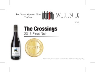 The Crossings  2013 Pinot Noir   Gold Medal   TexSom Wine Competition   Shelf Talker