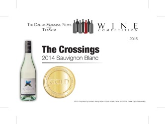 The Crossings  2014 Sauvignon Blanc   Gold Medal   TexSom Wine Competition   Shelf Talker