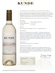 Kunde   Sonoma Valley   Sauvignon Blanc 2014   Technical Sheet