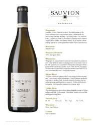 Sauvion   2013 Sancerre   Technical Sheet