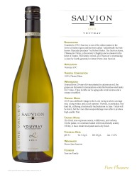 Sauvion   2013 Vouvray   Technical Sheet