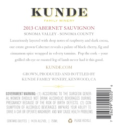 Kunde Family Estate   Cabernet Sauvignon   Sonoma Valley   Back Label