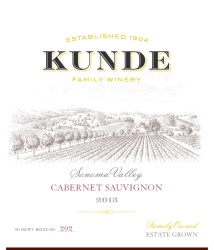 Kunde Family Estate   Cabernet Sauvignon   Sonoma Valley   Front Label