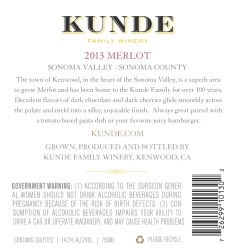 Kunde Family Estate   Merlot   Sonoma Valley   Back Label