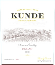 Kunde Family Estate   Merlot   Sonoma Valley   Front Label