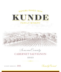 Kunde Family Estate   Cabernet Sauvignon   Sonoma County   Front Label