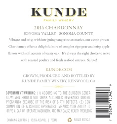 Kunde Family Estate   Chardonnay   Sonoma Valley   Back Label