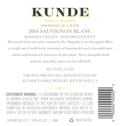 Kunde Family Estate   Sauvignon Blanc   Sonoma Valley   Back Label