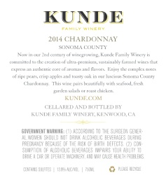 Kunde Family Estate   Chardonnay   Sonoma County   Back Label