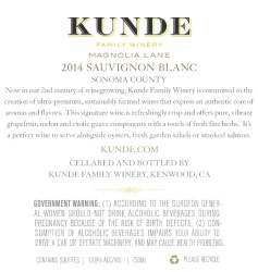 Kunde Family Estate   Sauvignon Blanc   Sonoma County   Back Label