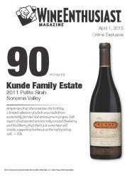 Kunde Family Estate   2011 Petite Sirah Sonoma Valley   90 Points   Wine Enthusiast   April 1 2015   Online Exclusive   Review