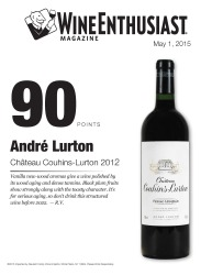 André Lurton   2012 Château Couhins-Lurton   90 Points   Wine Enthusiast   May 2015   Review