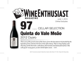 Quinta do Vale Meao   2012 Douro   97 Points   Wine Ethusiast - June 1 2015   Shelf Talker