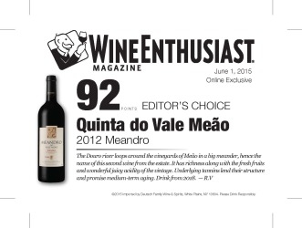 Quinta do Vale Meao   2012 Meandro   92 Points   Wine Ethusiast - June 1 2015   Shelf Talker
