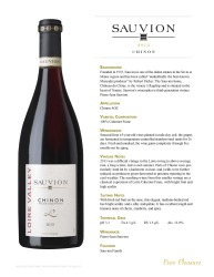 Sauvion   Chinon 2013   Technical Sheet