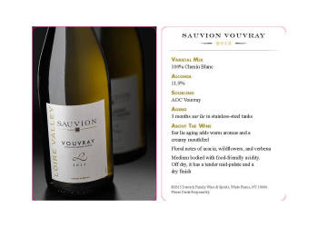 Sauvion   Vouvray   Tasting Card