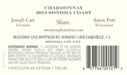 Joseph Carr   Sonoma Coast Chardonnay . NV 750 mL Back Label