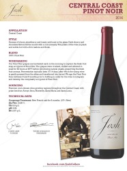 Josh Cellars   Central Coast Pinot Noir 2014   Technical Sheet