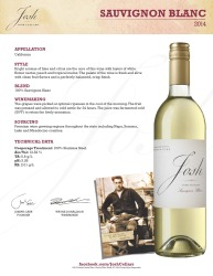 Josh Cellars   Sauvignon Blanc 2014   Technical Sheet