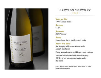 Sauvion   2013 Vouvray   Tasting Card