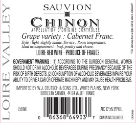 Sauvion   Chinon   Back Label