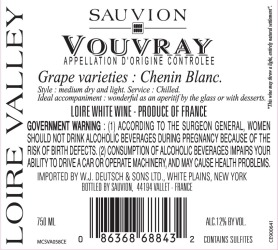 Sauvion   Vouvray   Back Label