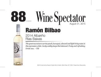 Ramon Bilbao   2014 Albarino   Rias Baixas   88 Points   Wine Enthusiast   August 31 2015   Shelf Talker